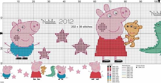 esquemas punto de cruz Peppa Pig | Minibu